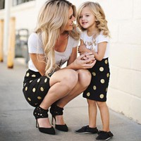 2Pcs Matching Mother Daughter T- shirt + Dot Skirt
