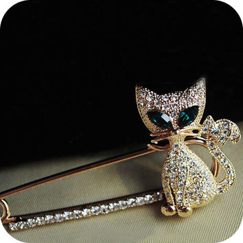 2016 Gold Silver Plated Rhinestone Brooch Scarf Brooches Pins Fashion Crystal Jewelry Accessories hijab Jewelry Corsage F3 B2.1