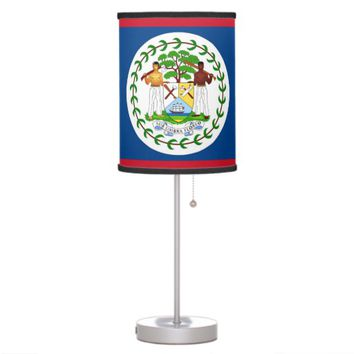 Patriotic table lamp with Flag of Belize