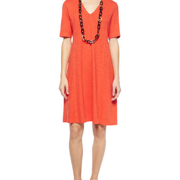 Half-Sleeve Hemp Twist Dress,