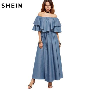 SHEIN Women Elegant Strapless Dress Fashion Blue Half Sleeve Off The Shoulder Ruffle Chambray A Line Maxi Dress