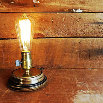 Edison Lamp Desk Light, Vintage Steampunk Industrial Age of Machines Table Lamp