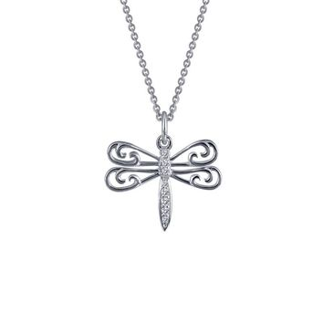 Lafonn Sterling Silver Dragonfly Simulated Diamond Necklace