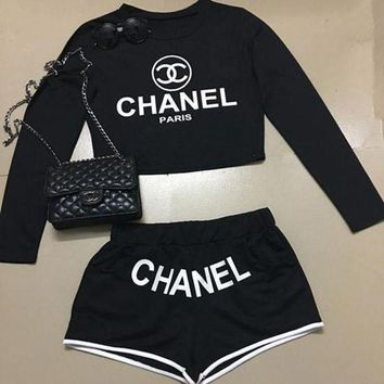 Chenire Chanel Fashion Cami Crop Long Sleeve Shirt Top Tee Pullover Shorts Set Two-Piece Sportswear