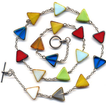 Triangular Necklace, Multi color Necklace,  Czech  Triangular Beads Necklace - Mod Jewelry by AnnaArt72