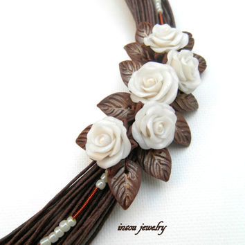 Handmade bib necklace - Brown statement necklace - Roses