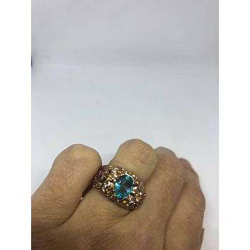 Vintage Handmade Blue Flourite and mixed color Tourmaline golden 925 Sterling Silver gothic Ring