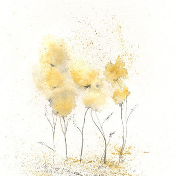 Fields of Love/watercolor print/grey and yellow/gray and yellow/ Archival Print