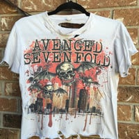 Cool Avenged Sevenfold, grunge  t shirt.....distressed, cropped band shirt