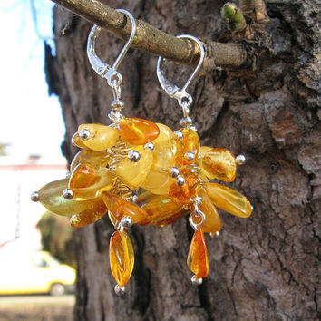 Lemon Yellow Amber Cluster Earrings, natural baltic amber, handmade jewelry, silver dangle earring, unique OOAK
