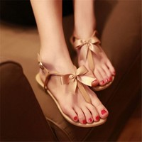MagicPieces Bowtie Toe-Post Flat Sandals LDP 0617