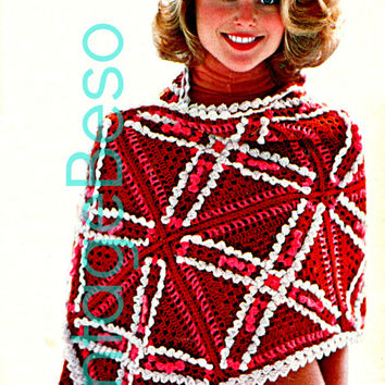 STRAWBERRY STOLE 1970s CROCHET Pdf Crochet Pattern Vintage Beso Shawl Boho Chic Hippie Happiness is modeled by Christie Brinkley