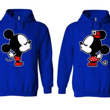 Mickey Minnie Kiss Couple Matching Love Set Solid Color Hoodie