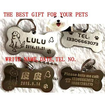 high quality stainless steel engraving carve dog name tel tag cat dog puppy pet ID tag 2X4CM permanent memory pet tag incisione