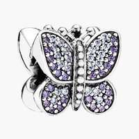 Women's PANDORA Butterfly Bead Charm - Sterling Silver/ Purple Cz