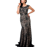 1930s Style Black Lace Beaded Mermaid Evening Gown