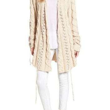 For Love & Lemons 'Wythe' Long Cable Knit Cardigan | Nordstrom