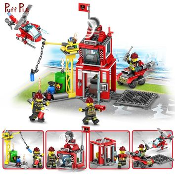 4 in 1 Fire Fighting Series Building Blocks Fire Station Compatible Legoings City Police Helicopter Truck With Figures Toys Kids