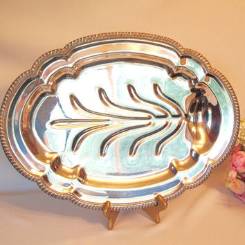 Vintage Large Silver on Copper - Footed Meat Platter - Turkey Platter
