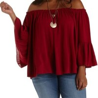 Plus Size Burgundy Bell Sleeve Swing Top by Charlotte Russe