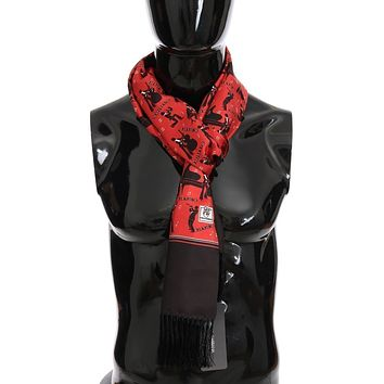 Dolce & Gabbana Red Silk Music Print Scarf
