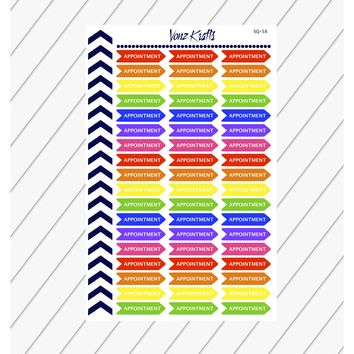 Appointment Planner Sticker, Multicolored Reminder Stickers, Kikkik, Kiss Cut, Functional Planner Stickers, Perfect For Erin Condren Planner