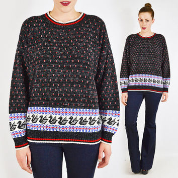vintage 80s black FAIR ISLE sweater / fairisle sweater / duck fair isle sweater / duck sweater / ski sweater / oversized sweater / l xl xxl