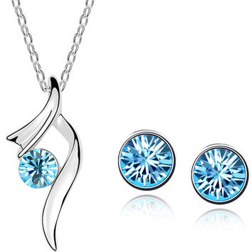 Star accessories boutique crystal set single diamond necklace cuicanduomu stud earring jewelry