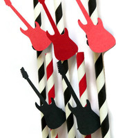 10 Rock N Roll Party Straws - Guitar Party Supplies