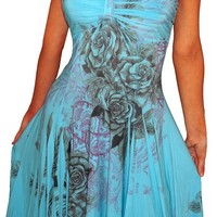 FUNFASH SUBLIMATION BLUE ROSE EMPIRE WAIST COCKTAIL DRESS Plus Size MADE IN USA