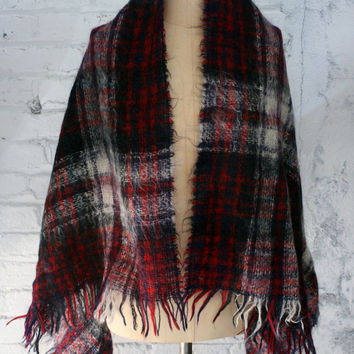 vintage large wool mohair plaid blanket shawl / made in Scotland