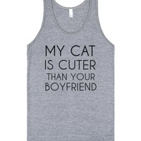 My Cat Is Cuter Than Your Boyfriend-Unisex Athletic Grey Tank
