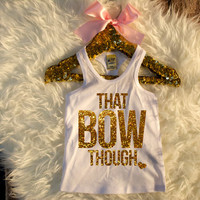That Bow Though Shirt Racerback White & Gold Baby Girl Clothes Baby Girl Shirt Hipster Baby Clothes Baby Gift White And Gold #59