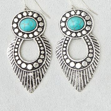 AEO Women's Etched Silver & Turquoise Earrings (Silver)