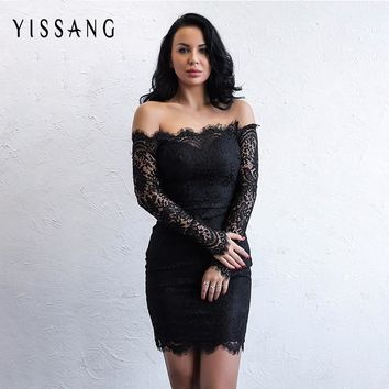 Yissang Lace Off Shoulder Mini Dress Hollow Out Long Sleeve Dress Vestidos Women Sexy Solid Slash Neck Vintage Black Dresses