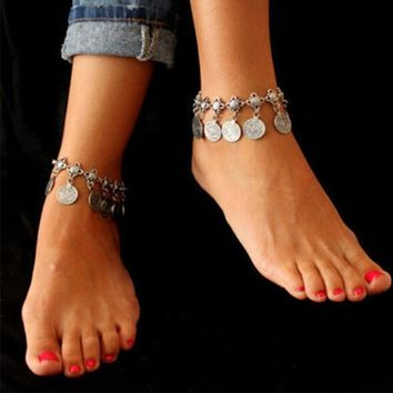 FeelinGirl New Chaine Cheville Femme Foot Chain Gypsy Old Turkish Coin Silver Anklet Ankle Bracelet Beach Foot Jewelry Bijou Leg