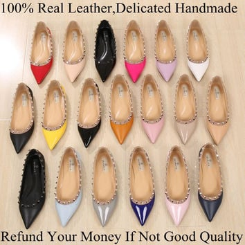 2016 Fashion Brand Luxury Vogue Women Shoes Rivets Flats Pointed Toe Flats Metal Studded Shoes Leather Ballerina Plus size 33-43