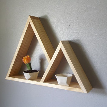 Geometric Shelf . Mountain Shelf . Modern Shelving . Pine Wood Shelves . Handmade Shelving . Minimal Design Shelves
