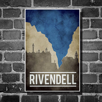 Lord of the Rings movie poster minimalist poster geekery art elf print rivendell