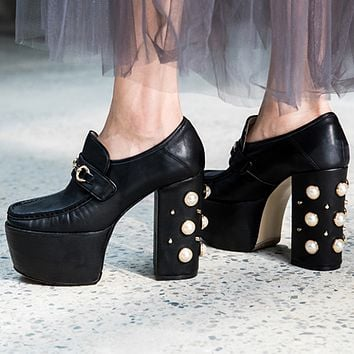 GUCCI 2018 high quality pearl with Shuitai platform shoes F-OMDP-GD Black