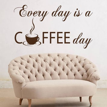 Coffee Cup Wall Decals Quote Every Day Is A Coffee Day Kitchen Cafe Art Home Interior Design Vinyl Decal Sticker Living Room Decor kk842