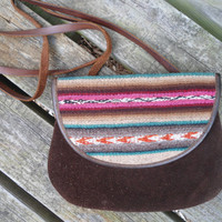 Small Clutch Purse Suede and Leather with a Southwest Flair Vintage Purse Hippie Style Crossover Purse
