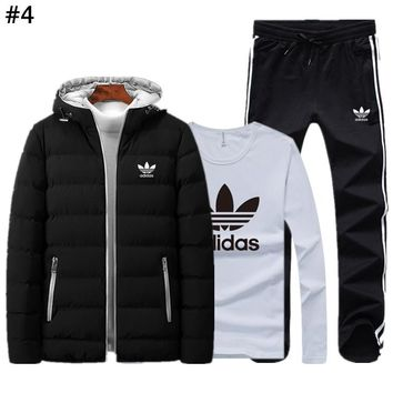 ADIDAS autumn and winter tide brand men and women plus velvet warm cardigan suit three-piece #4