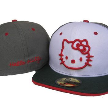 qiyif Hello Kitty New Era 59FIFTY Cap Grey-White