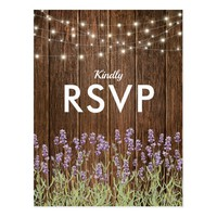 Rustic Country Lavender Lights Wedding RSVP Postcard