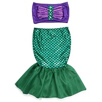 Girl party dress the little mermaid tail princess ariel dress cosplay costume kids for girl fancy green dress
