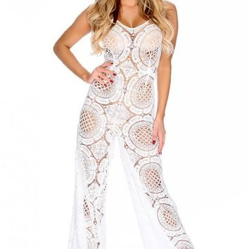 Sexy White Crochet Sheer Sleeveless V-Cut Dressy Jumpsuit