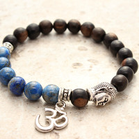 Om Bracelet, Blue Lapis Lazuli Ebony Wood Buddha Bracelet, Yoga Bracelet, Positive Energy Prayer Beads Meditation Bracelet, Om Jewelry