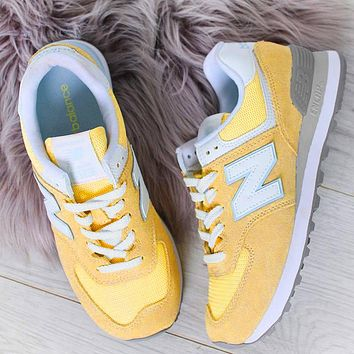 New Balance Z-shaped shoes sports casual running shoes tide retro shoes Yellow