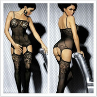 Women Sexy Lace Open Crotch Bodystocking Stripper Wear Bodies Sexy Lingerie Hot  Free Size (Color: Black) = 5987834369